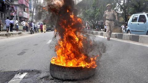Violence in Rajasthans Sikar after bus hits biker