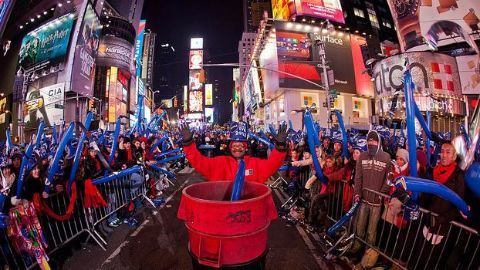 Crowds gather for celebrations at Times Square
