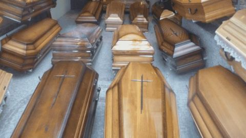 Coffins being prepared after China's recent cruise disaster